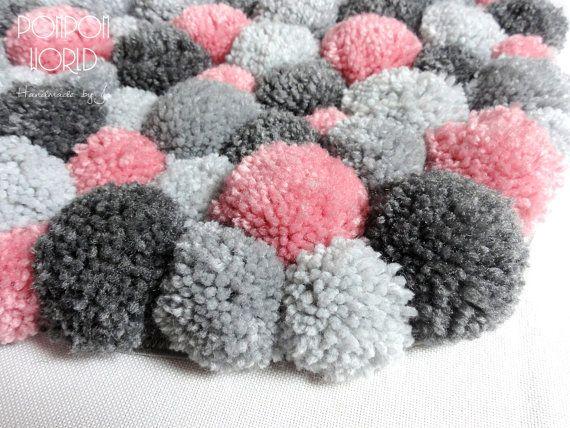 Bedroom Area Rug Pom Pom Rug Pink Gray Bedroom by PomPomMyWorld