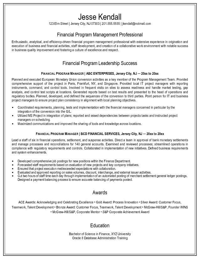 Example Financial Program Manager Resume Free Sample Select