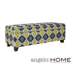 Handy Living Kent Retro Blue Green Geometric Burst Wall Hugger Trunk  Storage Ottoman By Handy Living