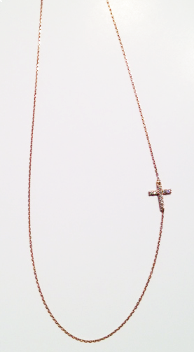 Side Cross Pendant - Dress up your Easter outfit or sport this sparkle cross pendant everyday! This necklace is a must have for spring! #DID #spring #necklace