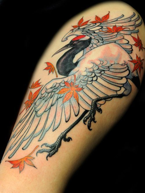 Japanese Crane Tattoo Google Search Crane Tattoo Japanese Sleeve Tattoos Japanese Tattoo