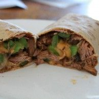 Shredded Roast Beef au Jus (low-carb) - yourlighterside.com   To make it gluten-free, I'll sub a Sandwich Petal for the flatbread.