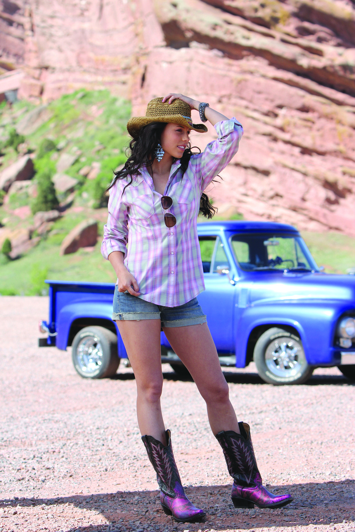 Western Shirts  Plaid Shirt Ripped cut off jean shorts u0026 Cowgirl Boots. This will be my summer ...
