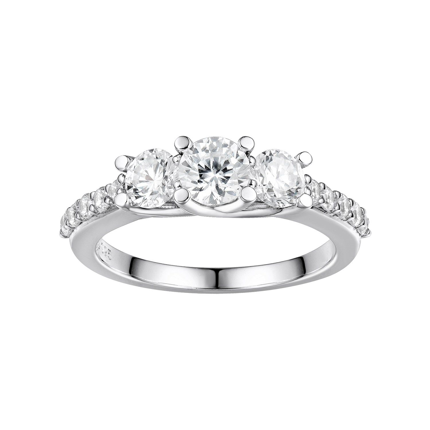 fbb0b96ac DiamonLuxe Sterling Silver Cubic Zirconia 3-Stone Ring | Vintage ...