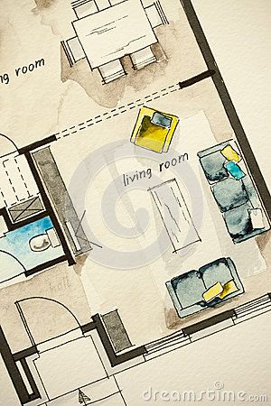 Watercolor And Ink Freehand Sketch Drawing Of Apartment Flat Floor Plan Living Architecture Drawing Plan Floor Plan Drawing Floor Plan Sketch
