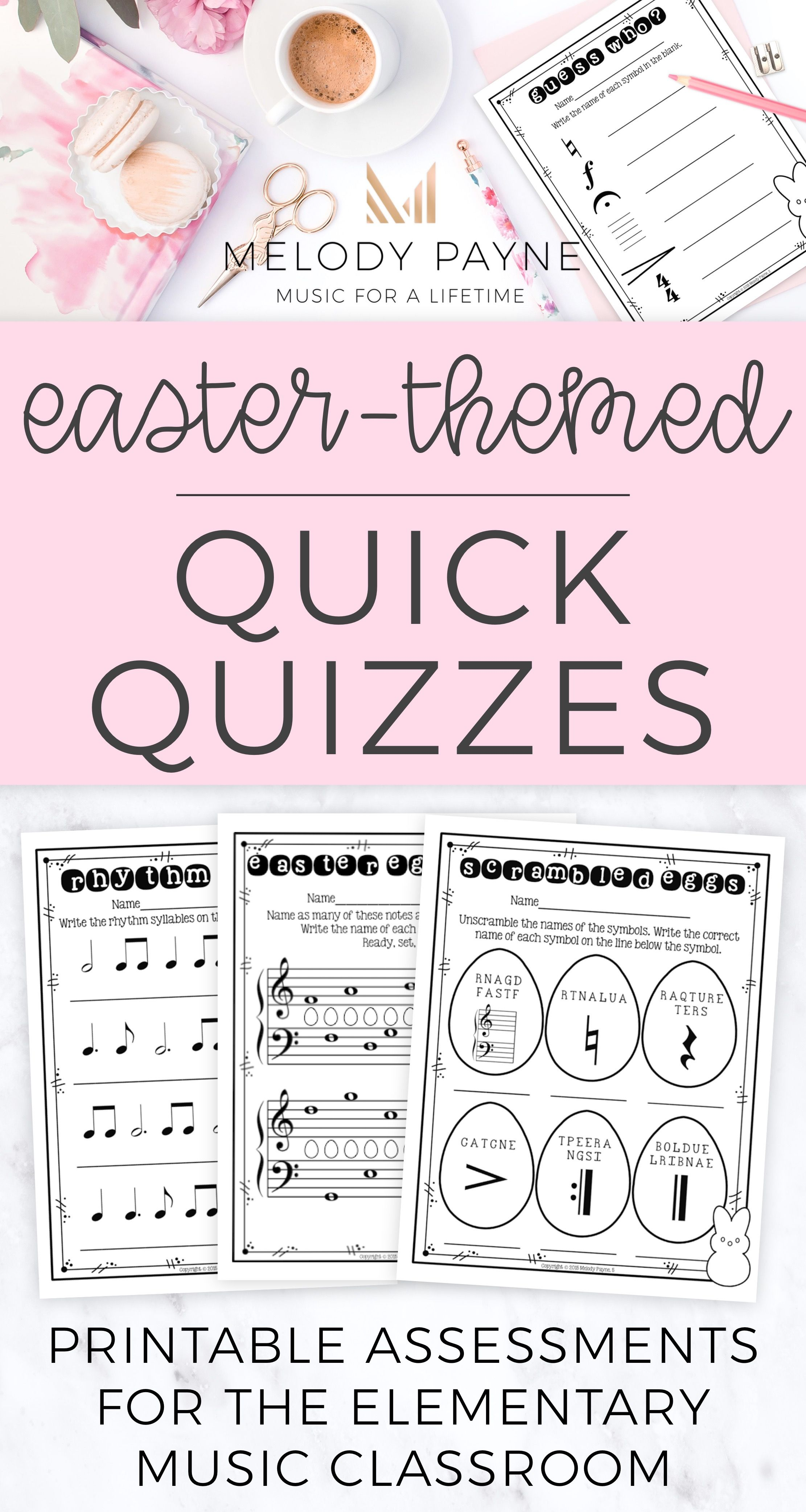 Easter Quick Quizzes 20 Pages Color Bw American