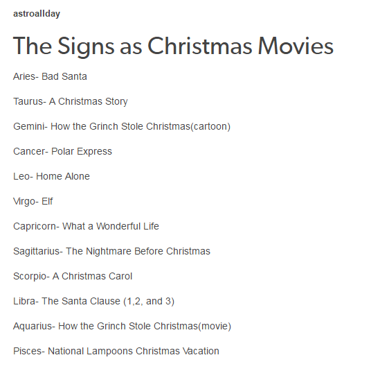 The Signs As Christmas Movies Zodiac Signs Zodiac Sign List Astrology Pisces