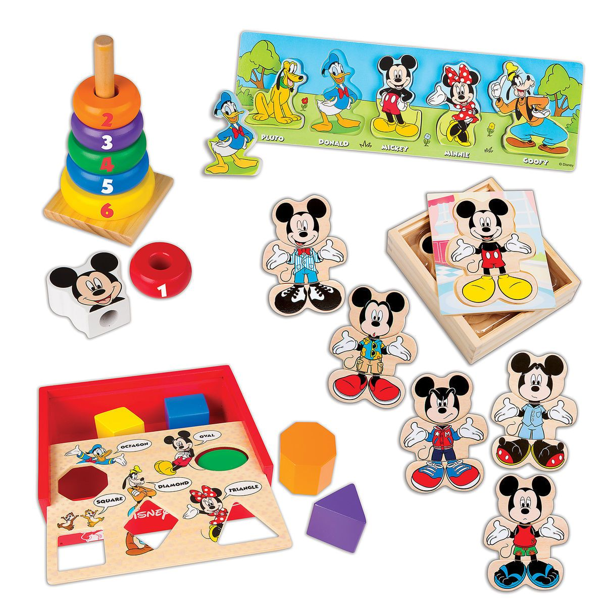 mickey mouse deluxe wooden classic toy setmelissa & doug