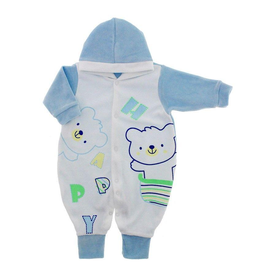 Macacão de Plush com Capuz para Bebê Bears Azul  9031 Este modelinho de macacão longo com capuz e sem pé com estampas de ursinhos silkadas uma boa opção para a criança usar nos dias frios.