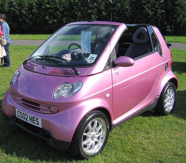 Pink Convertible Smart Car Too Cute
