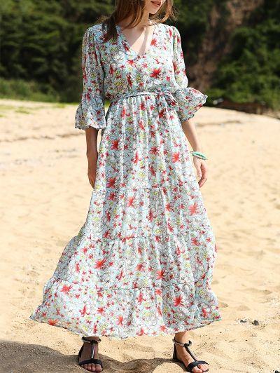 Full Floral Print V Neck 3/4 Sleeve Maxi Dress - COLORMIX L Mobile