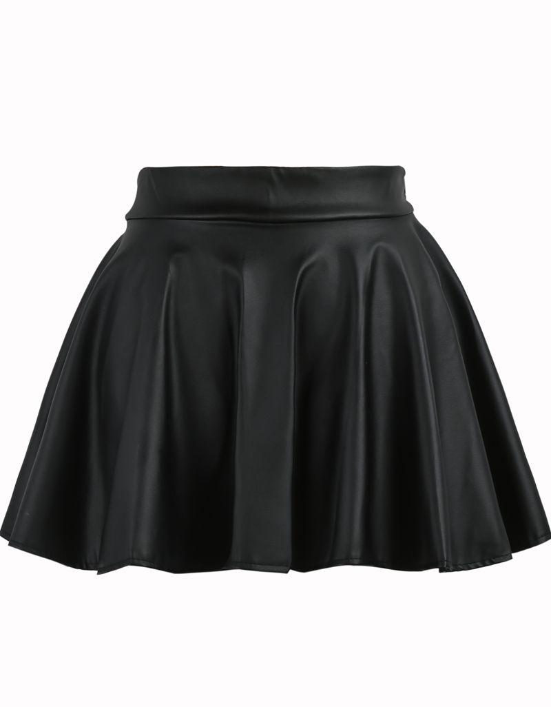 b09d6b9e32 Falda polipiel cintura elástica-negro 8.87