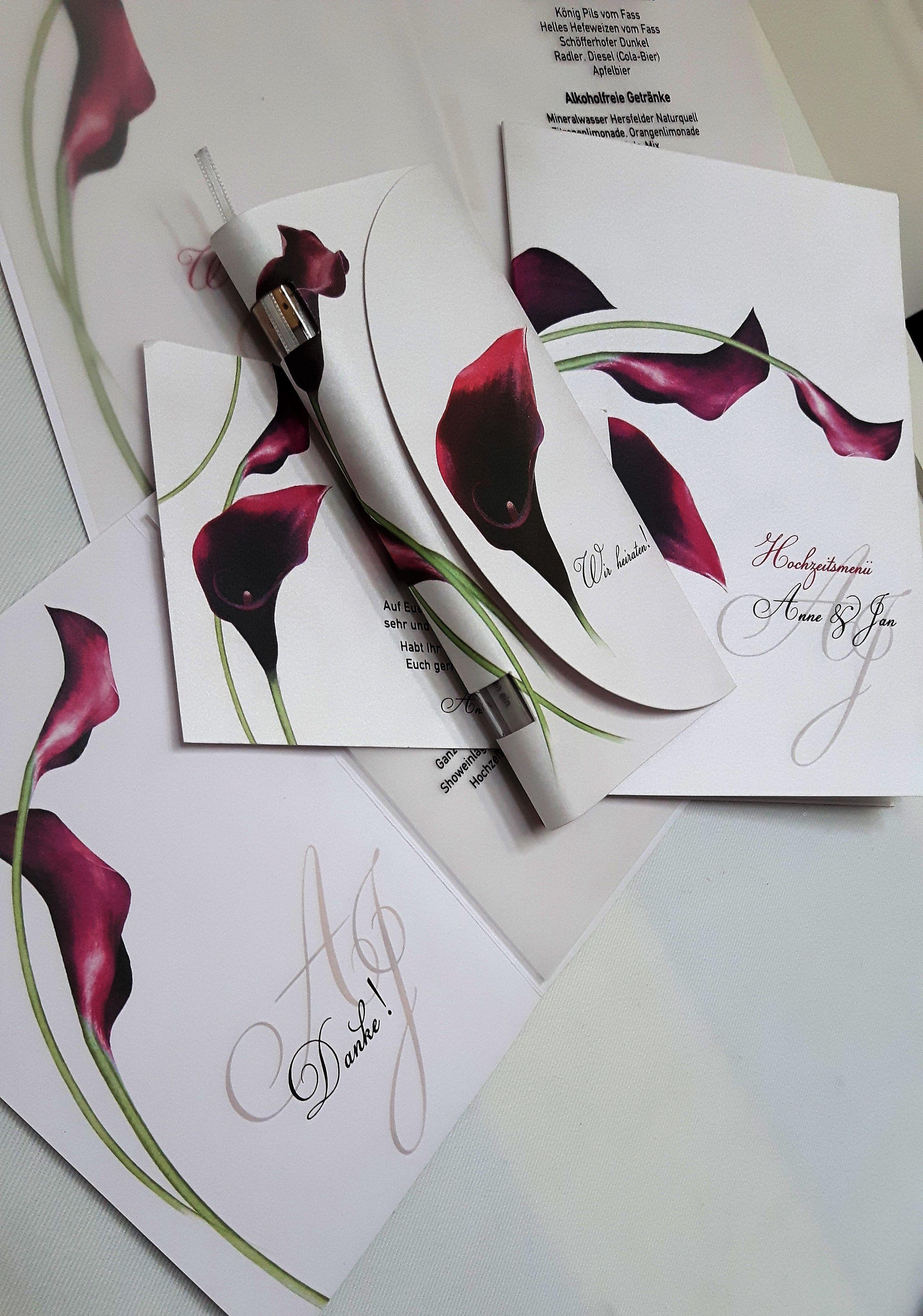 Einheitliche Hochzeitskarten Mit Pinker Calla Floral Motto Lilie