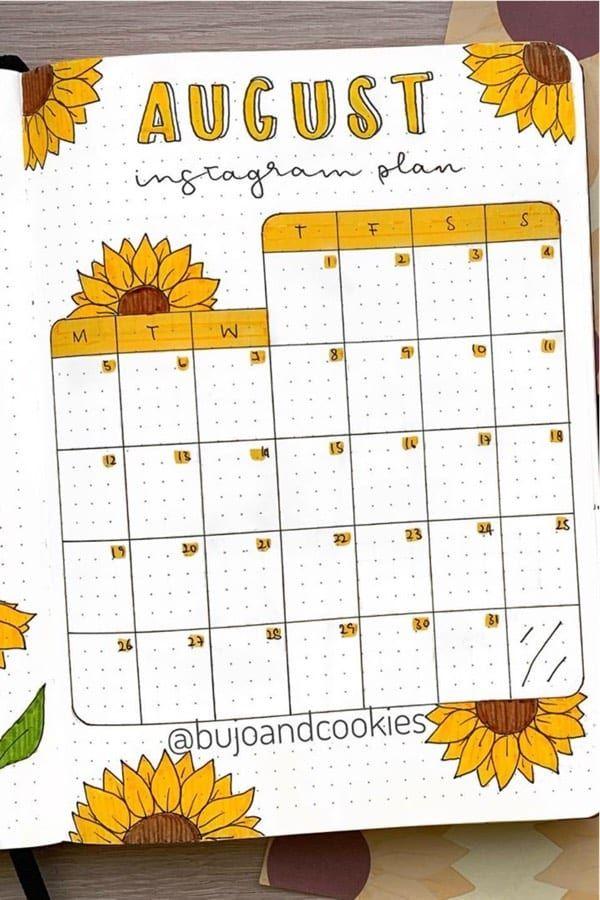 Best Sunflower Bullet Journal Spreads For 2020 - Crazy Laura