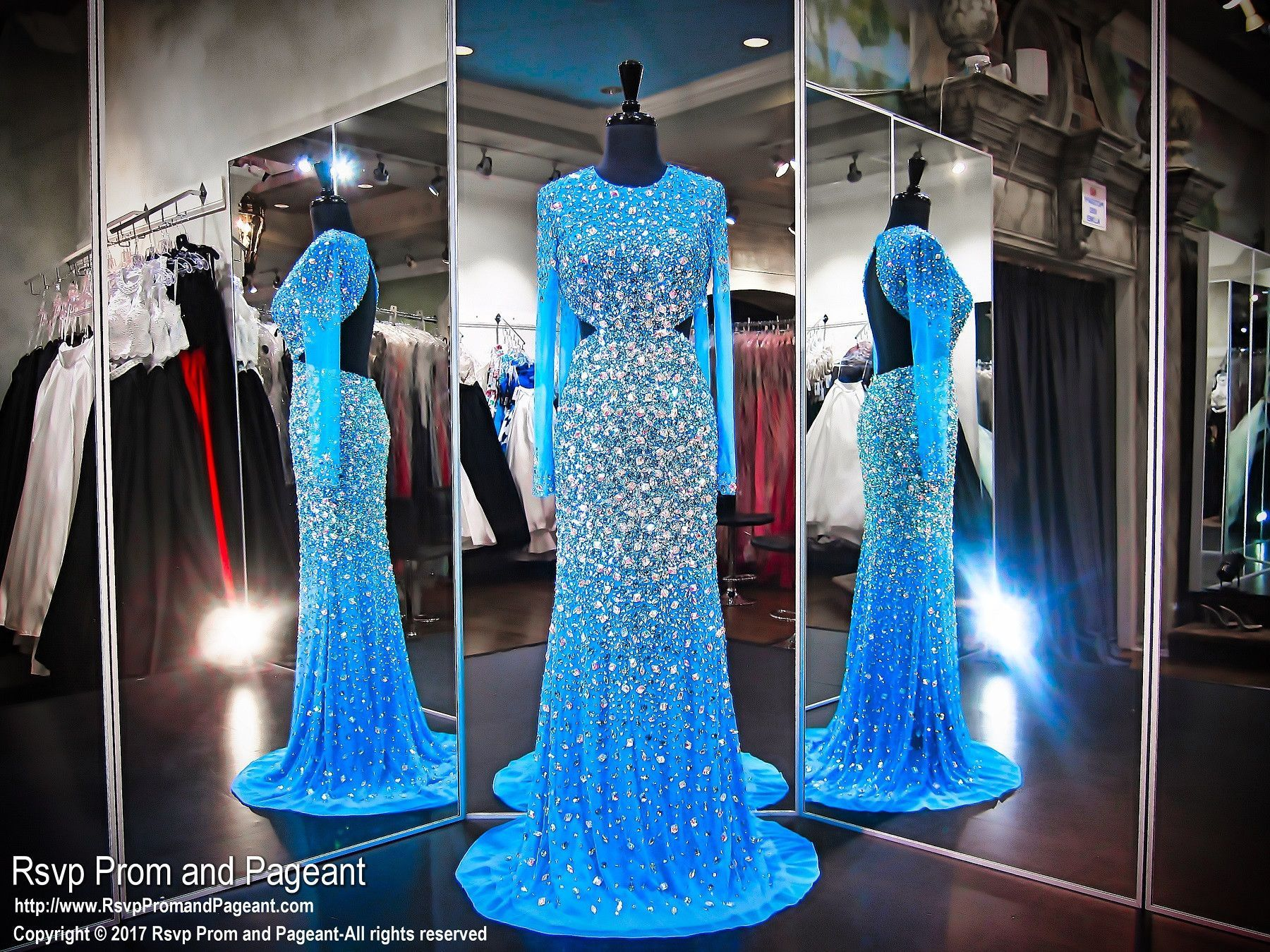 Turquoise blinged out iridescent stone sleeved prom dress prom
