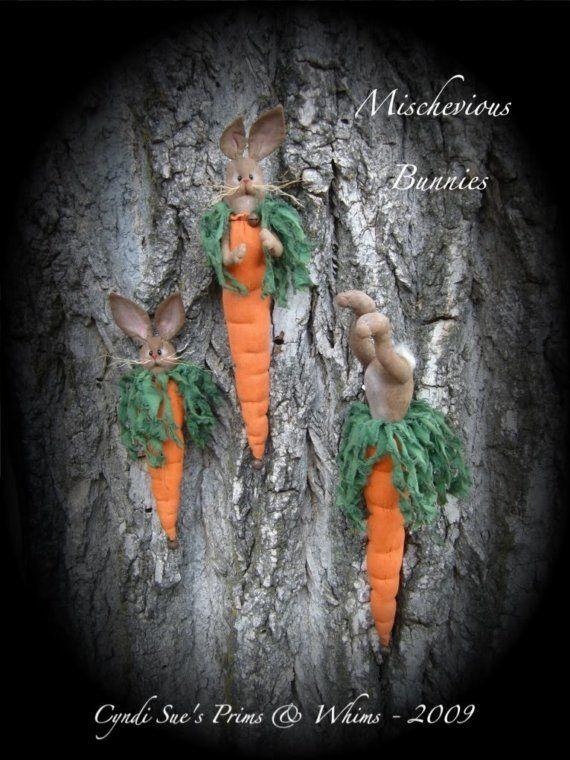 Primitive Mischevious Bunnies Pattern  3 by cyndisuesprimsnwhims, $8.50