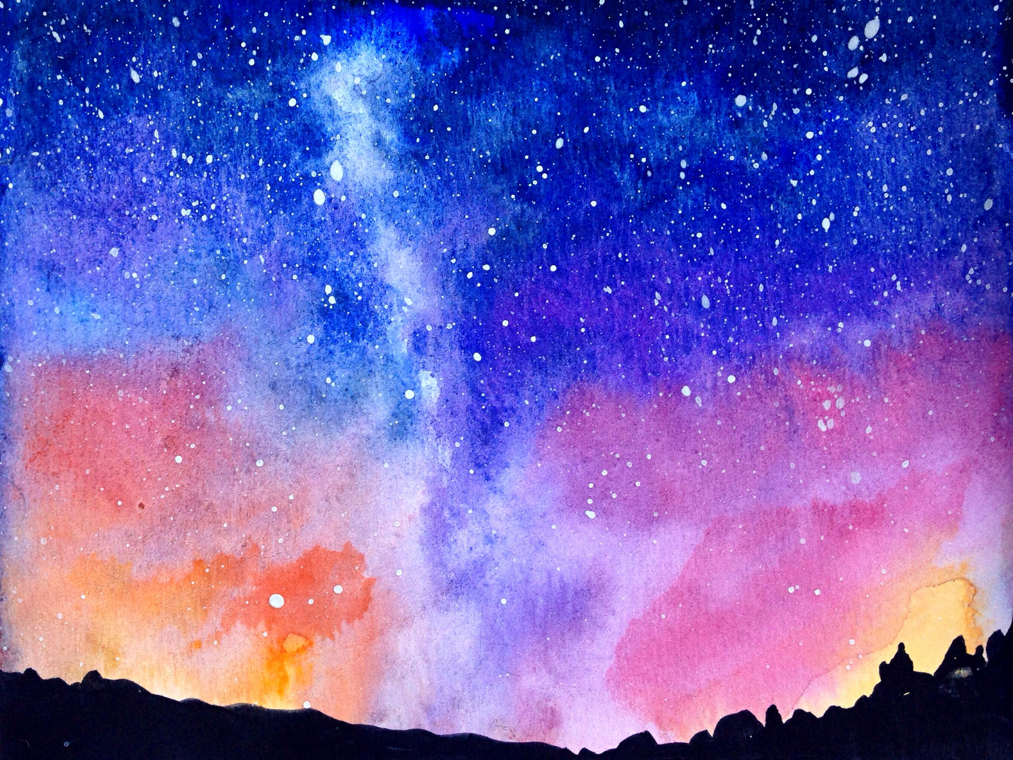 stars galaxy series in watercolour watercolour paintings