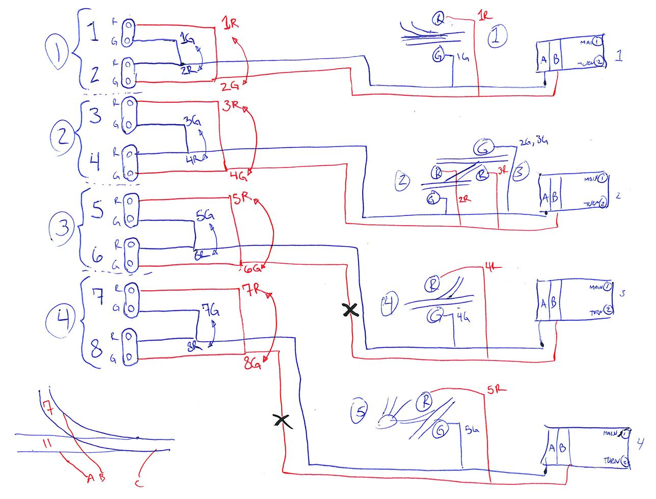 planning sketch depicting wiring for the trackside signals control panel model trains diagram [ 1288 x 980 Pixel ]