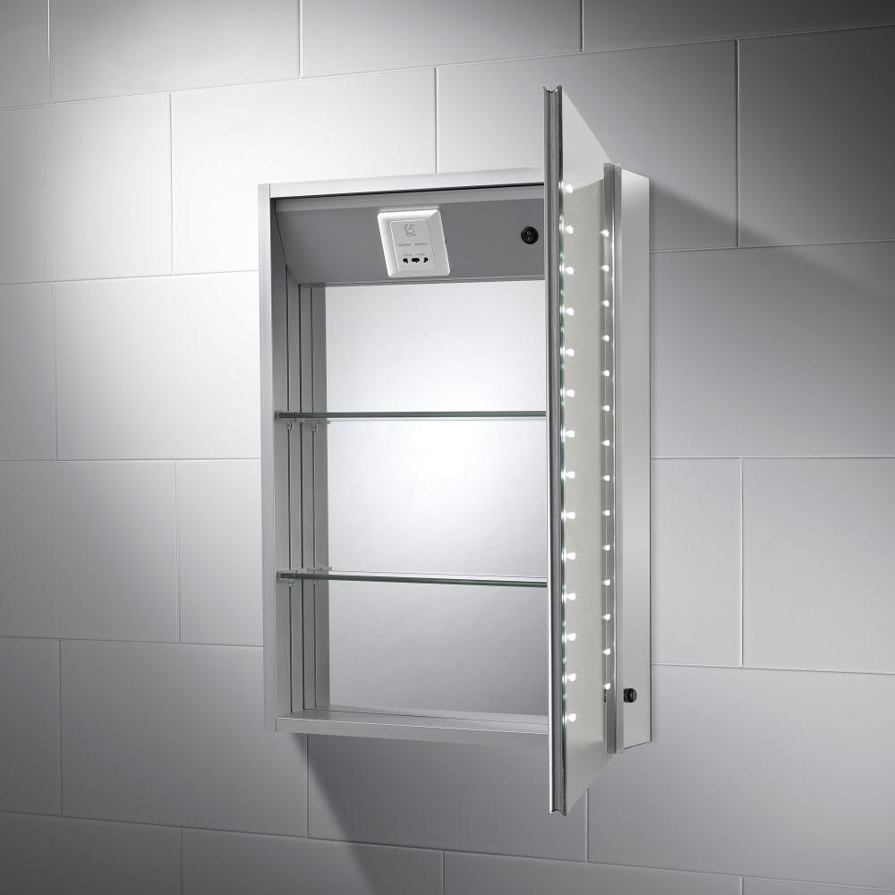 Hollis Led Illuminated Bathroom Mirror Cabinet With Shaver Socket Mirror Cabinets Cabinet Bathroom