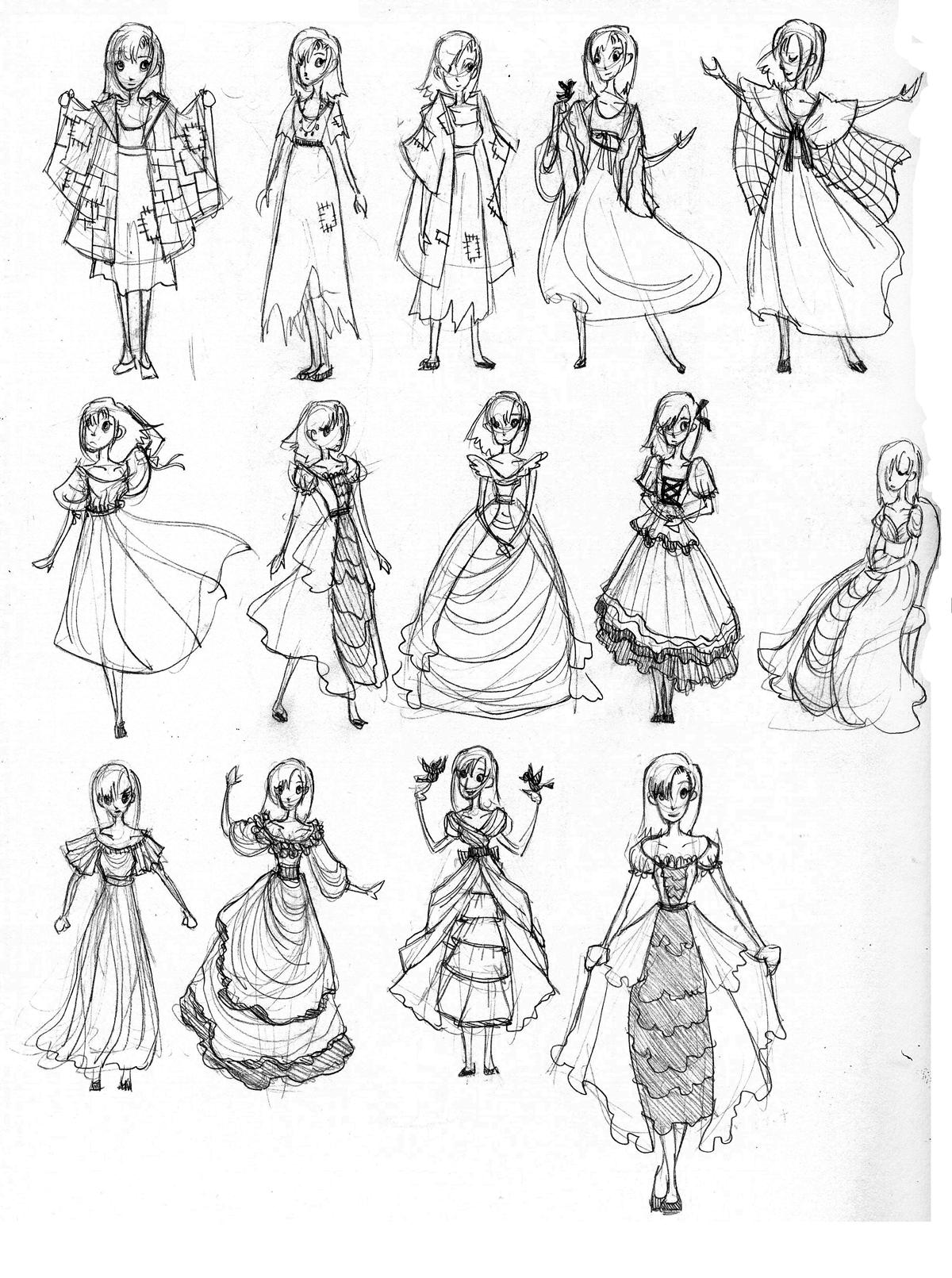 Princess Dress Designs Drawings, Princess drawings