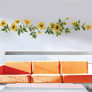 sunflower butterfly wall decal mural decor sticker 281 on wall decals id=35018