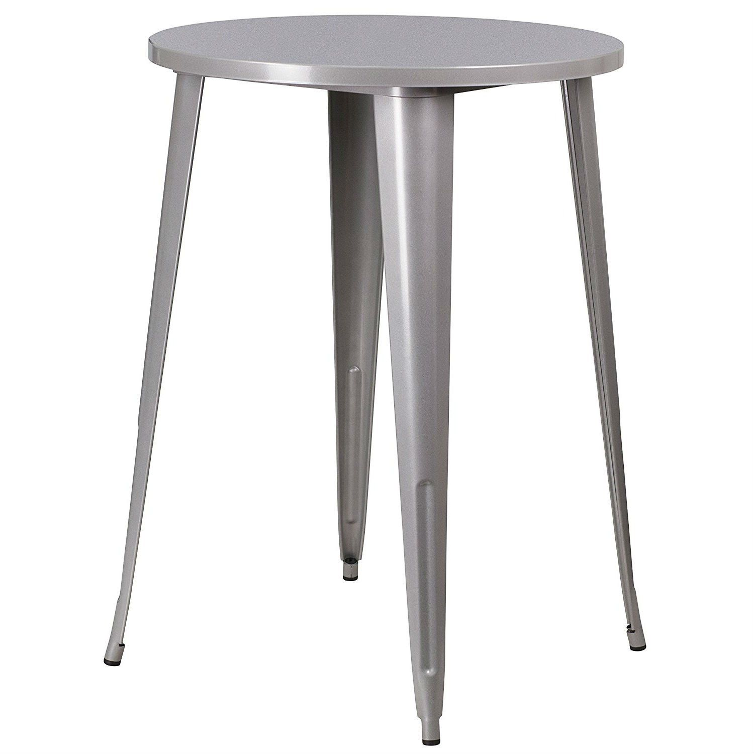 Astounding Outdoor 30 Inch Round Metal Cafe Bar Patio Table In Silver Theyellowbook Wood Chair Design Ideas Theyellowbookinfo