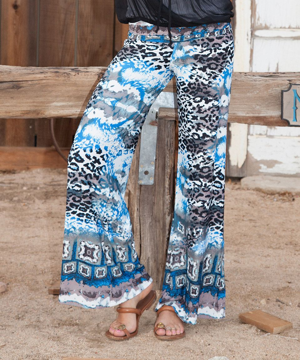 This White Mark Sky Blue Cheetah Palazzo Pants by White Mark is perfect! #zulilyfinds