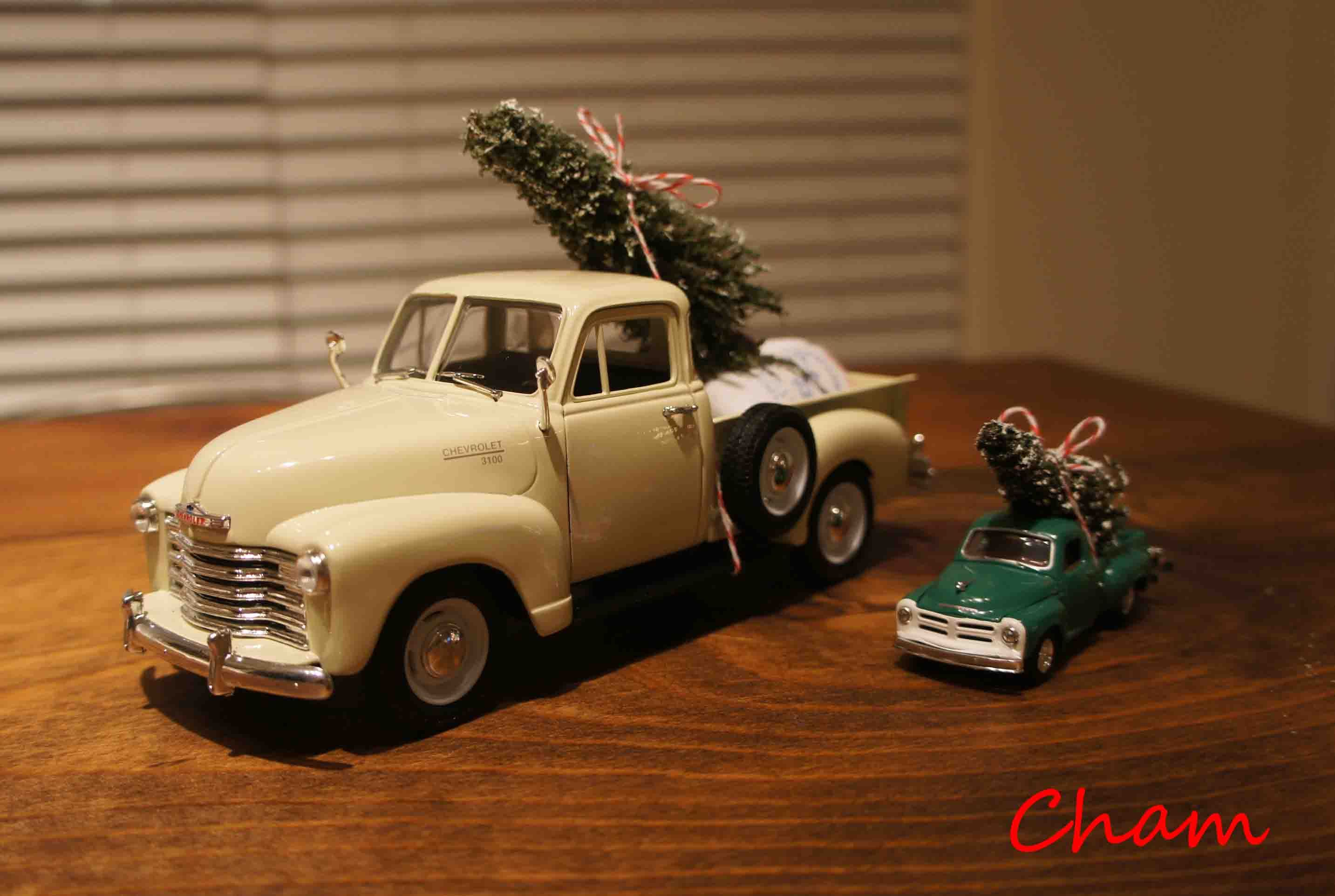 Car decoration toys  Holiday DIY project Christmas tree on the vintage toy truck  A