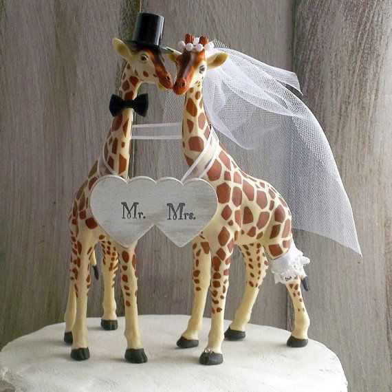 Giraffe Wedding Cake Topper Animal Woodland