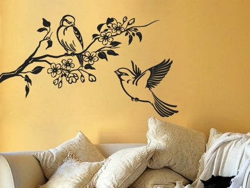 Floral Birds Wall Decal Apply This Sticker In Any Flat Surface (laptop,  Windows,