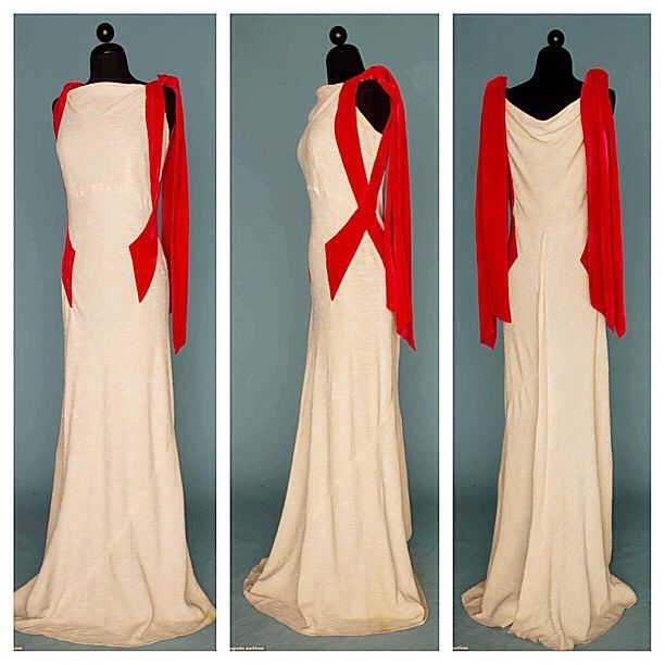 1930s Cream silk evening gown. Bias cut with persimmon velvet bands ...