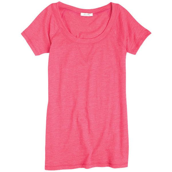Ariana Raglan Tee ($5.99) ❤ liked on Polyvore featuring tops, t-shirts, knit tops, raglan t shirt, layering tees, pink knit top and raglan-sleeved t-shirts
