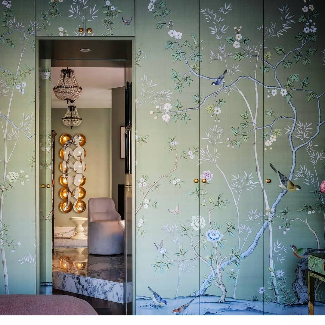 De Gournay On Instagram Wallpaper The Wardrobe Interior Design By Uldrich Tredup By Andreasvonein Wardrobe Interior Design Wallpaper Door Diy Wardrobe