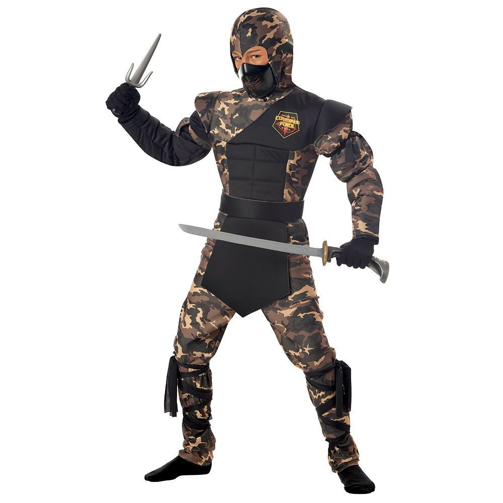 Special ops ninja costume kids boys size 10 12 multicolor special ops ninja child costume small top with muscle chest and arms and attached hood pants mask belt solutioingenieria Images