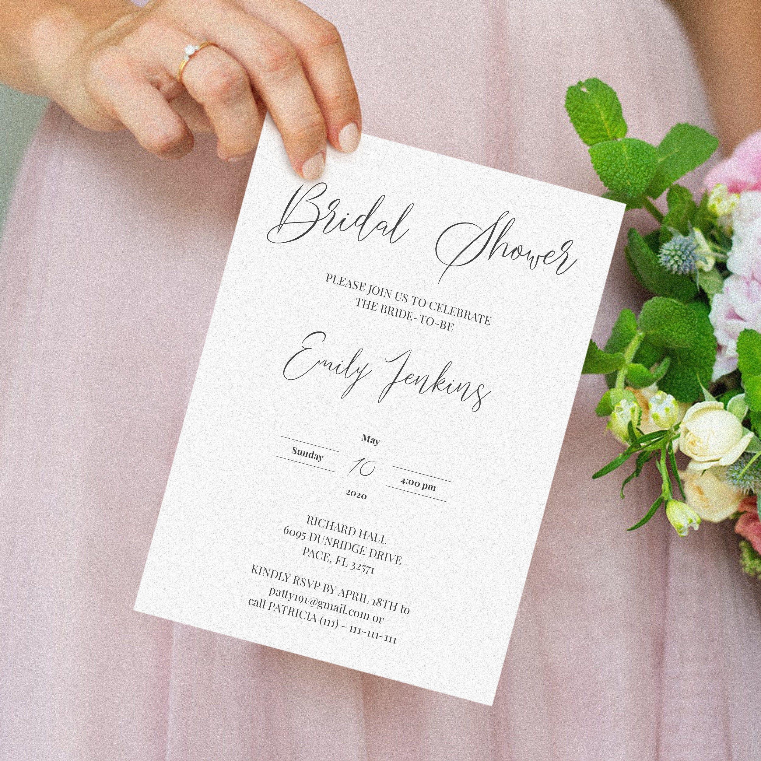 Bridal Shower Invite Elegant Bridal Shower Invitation Etsy In 2020 Wedding Invitations Printable Templates Diy Wedding Invitations Templates Bridal Shower Invitations Templates