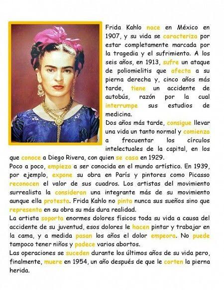 Biography Of Frida Khalo Biografia De Frida Khalo Pintora Mexicana Teaching Spanish Spanish Reading How To Speak Spanish