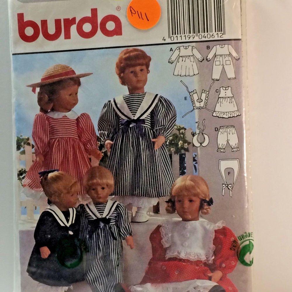 Doll clothes pattern burda sml 4061 verlag aenne burda