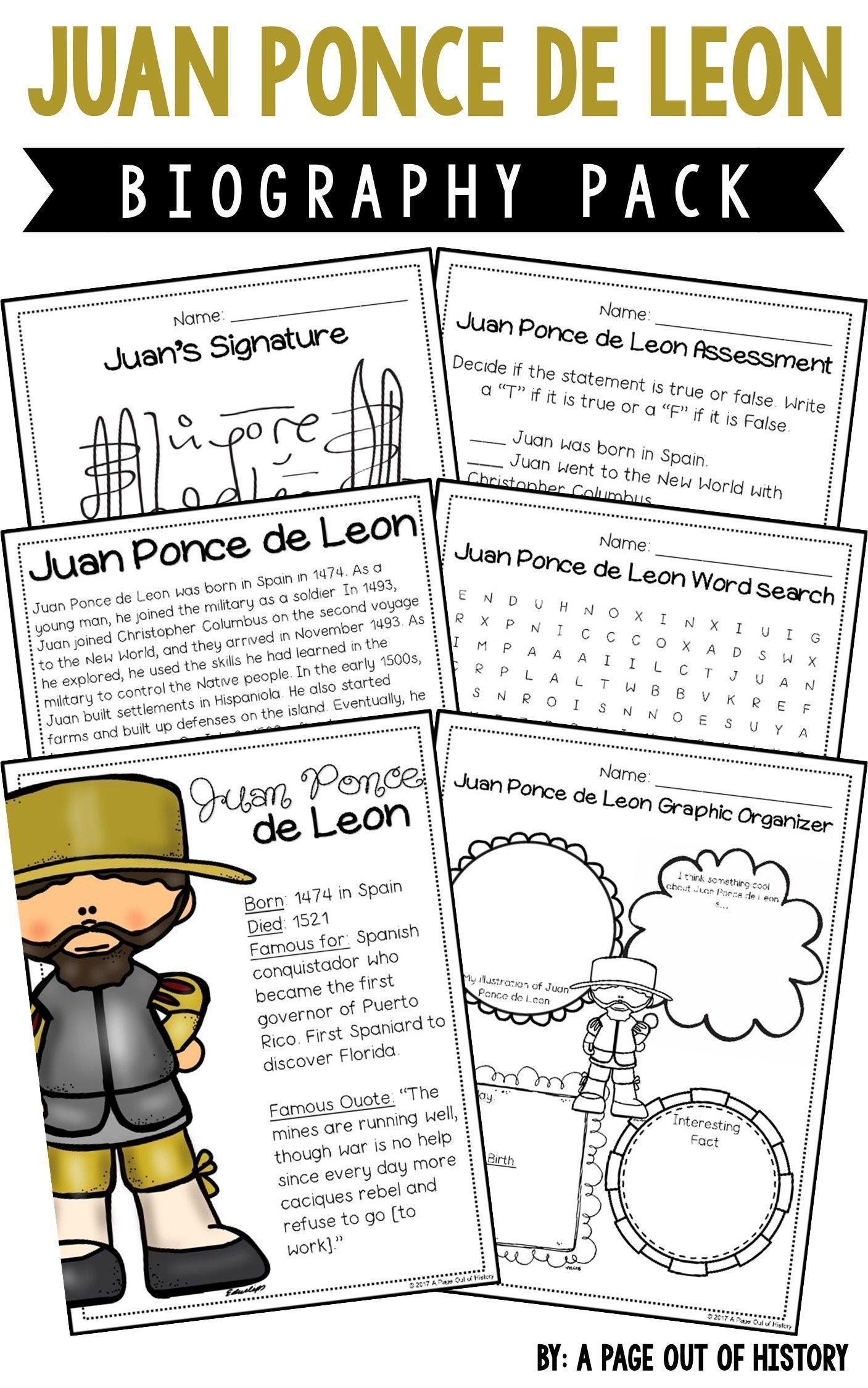 Juan Ponce De Leon Biography Pack New World Explorers