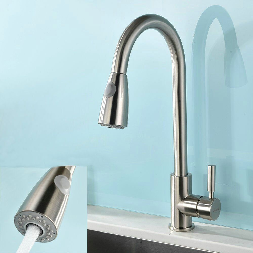 UFaucet Modern Stainless Steel Single Handle Pull Down Spray Kitchen ...