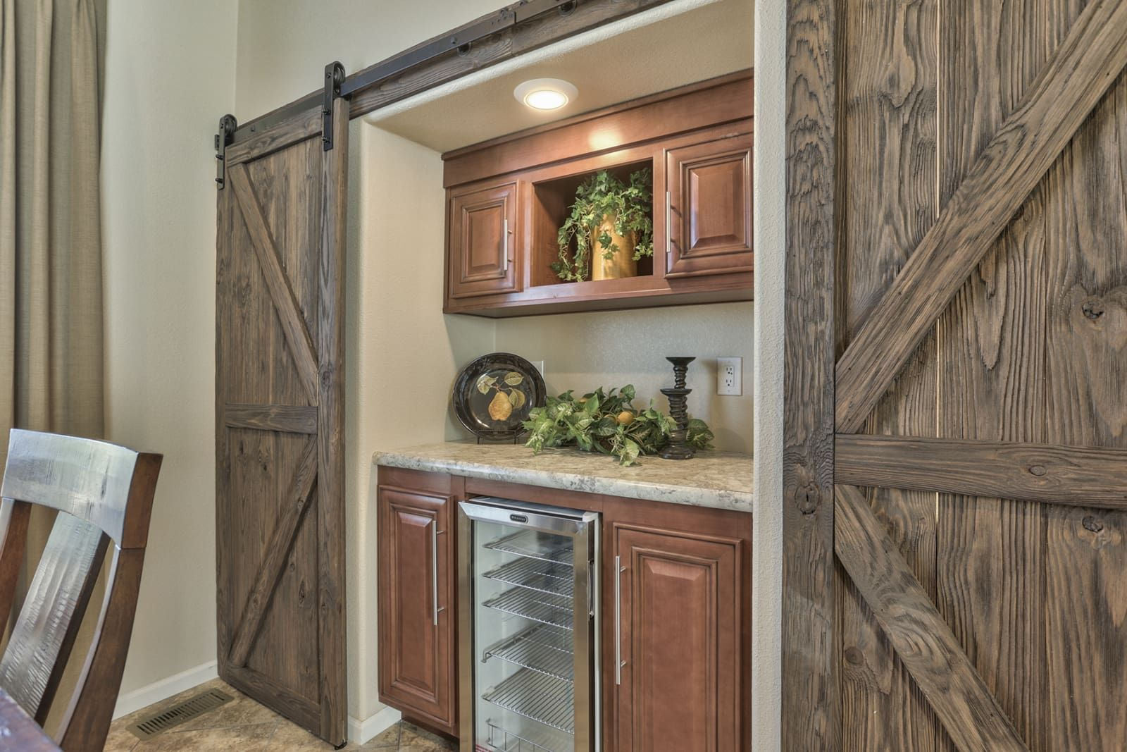 Barn Doors In The Dining Room Dry Bar DS2860