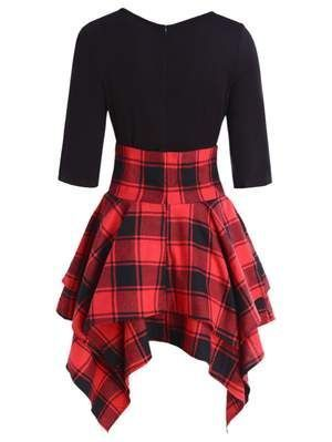 Frauen Schnuren Sich Oben Kariertes Asymmetrisches Kleid Oansatz Dress Dresses Womendress Asymmetrisches Kleid Kleider Kariertes Kleid