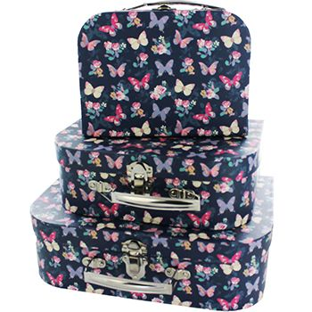 Navy Erfly Storage Suitcases Set Of 3 Bo At The Works Just