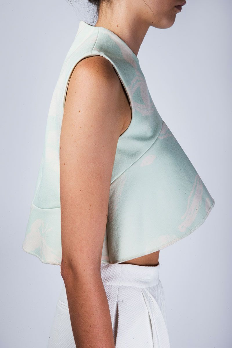 Mint crop top and high waist white skirt with pleats