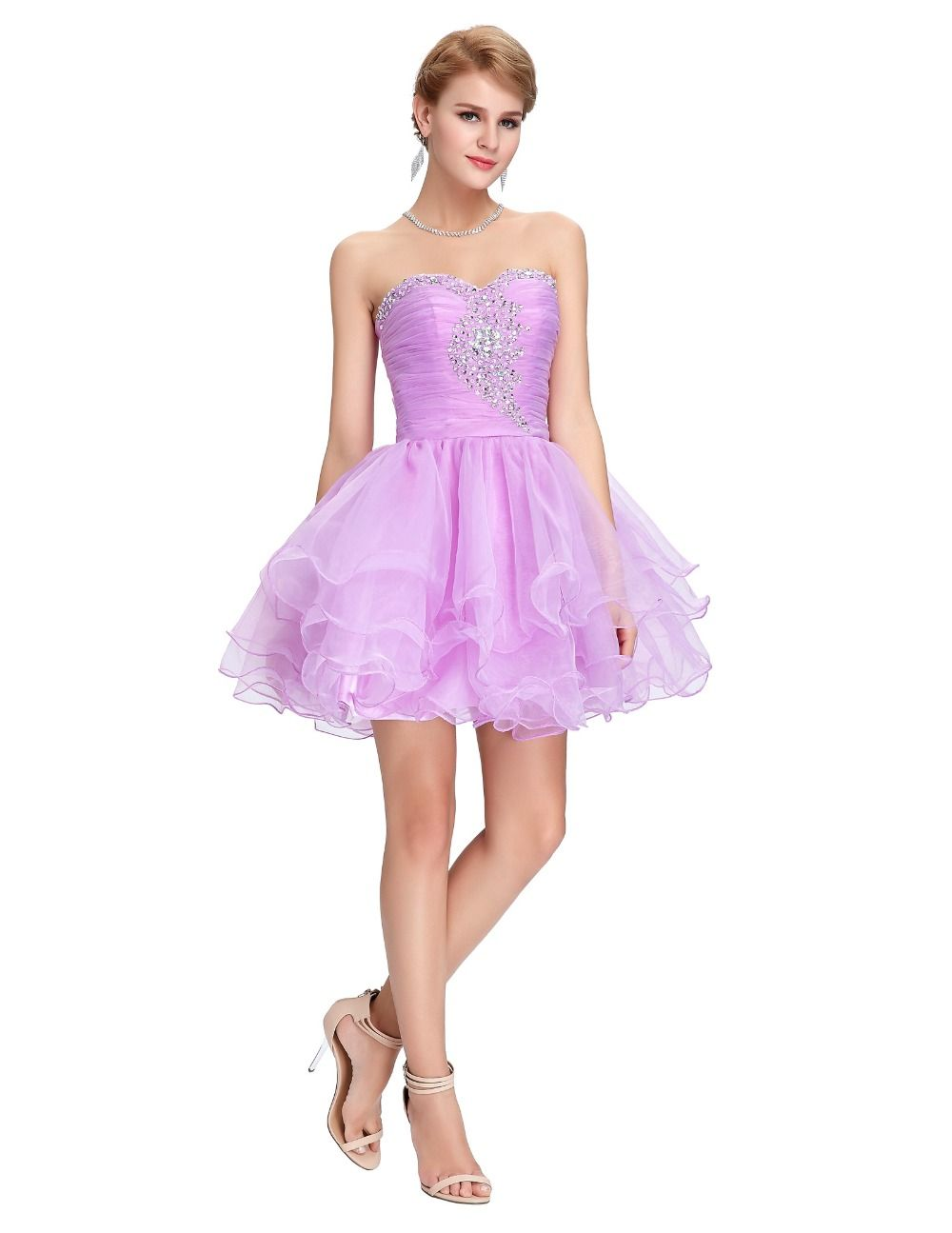Short Prom Dress Grace Karin Black Purple Pink Beaded Sequin Ball ...