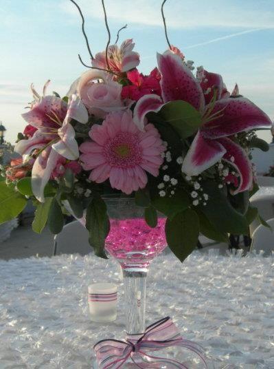 Aqua Beads In Martini Vase Wedding Centerpiece Floral Wedding