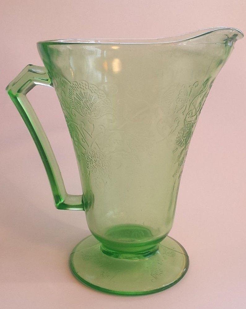 Vintage green depression glass pitcher hazel atlas florentine vintage green depression glass pitcher hazel atlas florentine poppy antique reviewsmspy