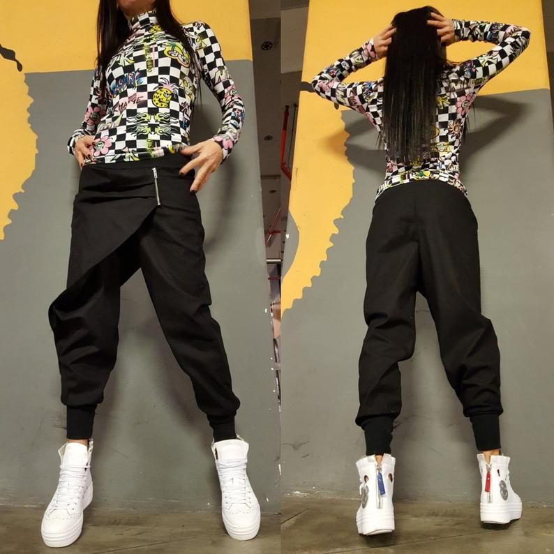 Women Drop Crotch Pants Extravagant Black Pants Women Etsy In 2020 Pants For Women Drop Crotch Pants Black Pants Casual