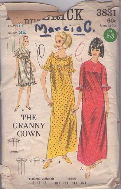 Vintage 60's Sewing Pattern SWEET Mod Granny Gown, Yoked, Ruffle Trim Muu Muu, Lounge or Party Dress