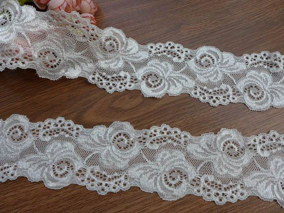 Soft stretch lace floral elastic lace trim baby headband ...