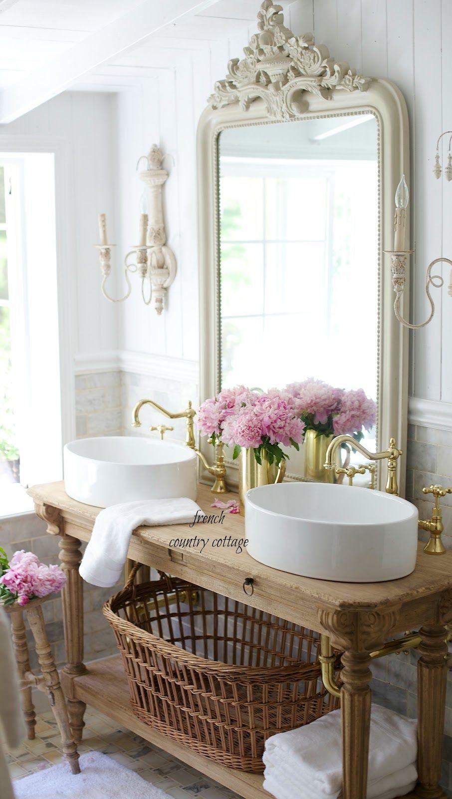 Elegant French cottage bathroom renovation peek u0026